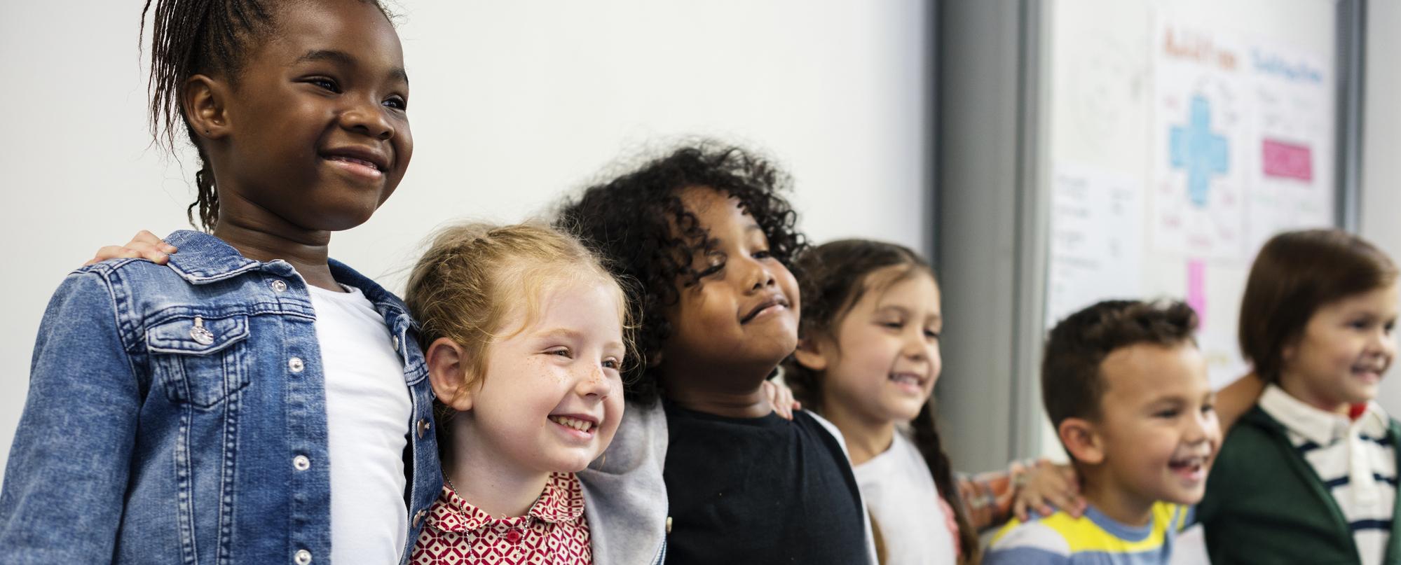 Photo of happy kids at elementary school